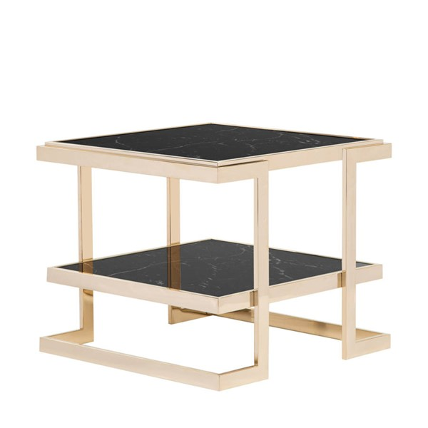 Curations Deco Black Gold Side Table CUR-1001-1016-Black