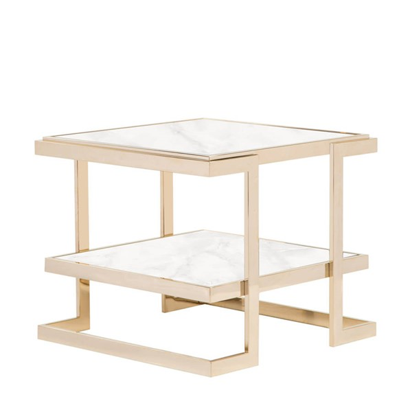 Curations Deco White Gold Side Table CUR-1001-1016-White