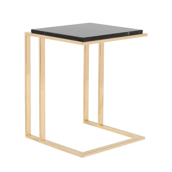 Curations Deco Black Gold Small Side Table CUR-1001-1017-Black