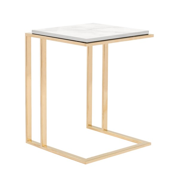 Curations Deco White Gold Small Side Table CUR-1001-1017-White