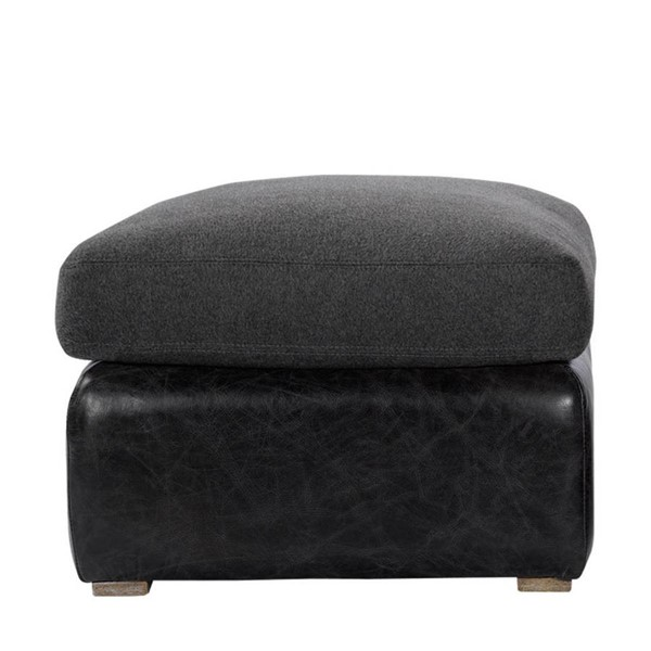 Curations Winslow Black Leather Ottoman CUR-7801-1114