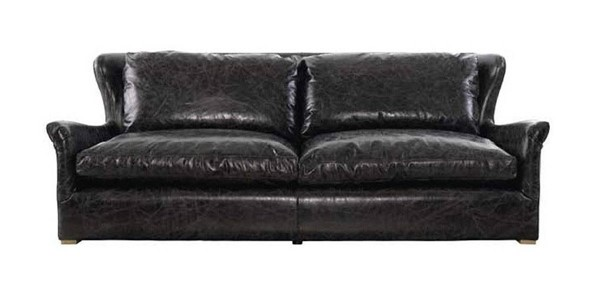 Curations Winslow Black Leather Sofa CUR-7842-3106