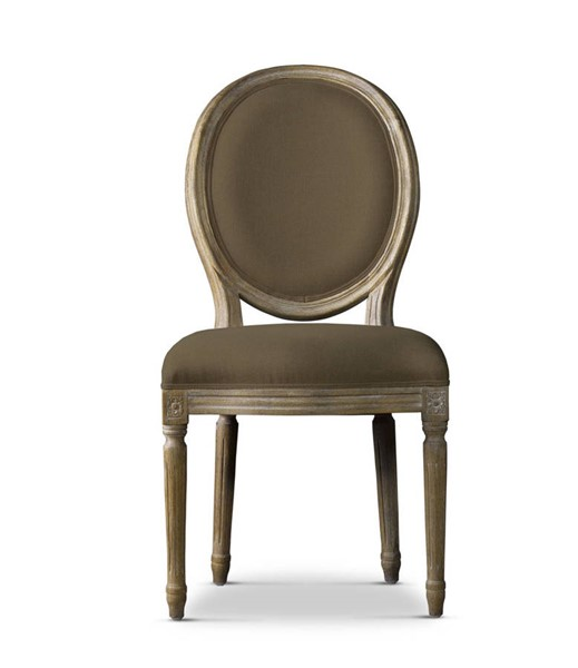 2 Curations Limited French Vintage Louis Brown Linen Round Side Chairs CUR-8827-0003-A008