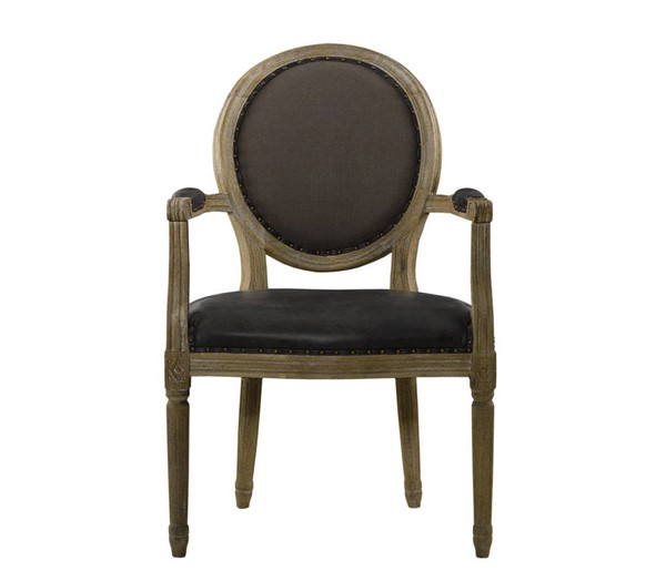 Curations Limited French Vintage Louis Brown Nailhead Round Arm Chair CUR-8827-1106