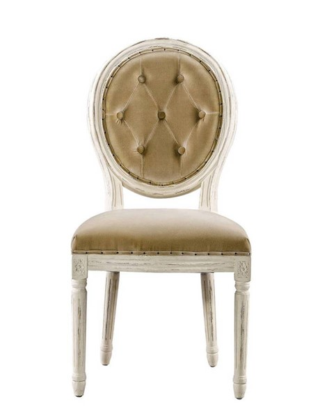 2 Curations French Vintage Louis Beige Round Button Side Chairs CUR-8827-2003