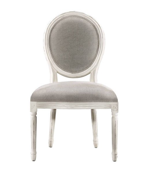 2 Curations Limited French Vintage Louis White Round Side Chairs CUR-8827-2004