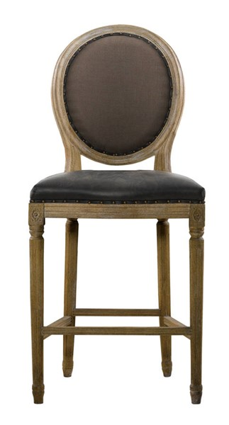 Curations French Vintage Louis Brown Counter Stool CUR-8828-3002