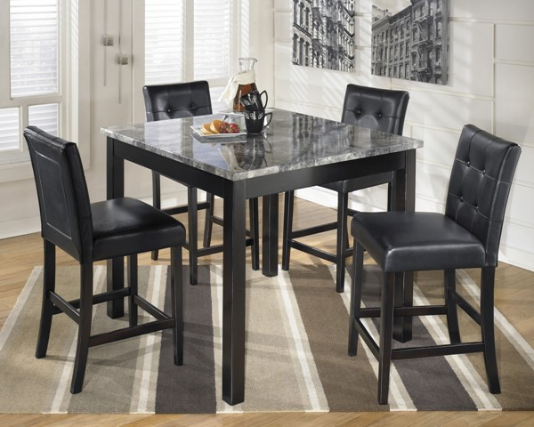 Maysville Contemporary Black Square Counter Table Set (5/CN) D154-223