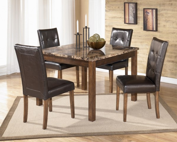 Theo Contemporary Brown Wood PVC Marble Square Table And 4 Side Chairs D158-225
