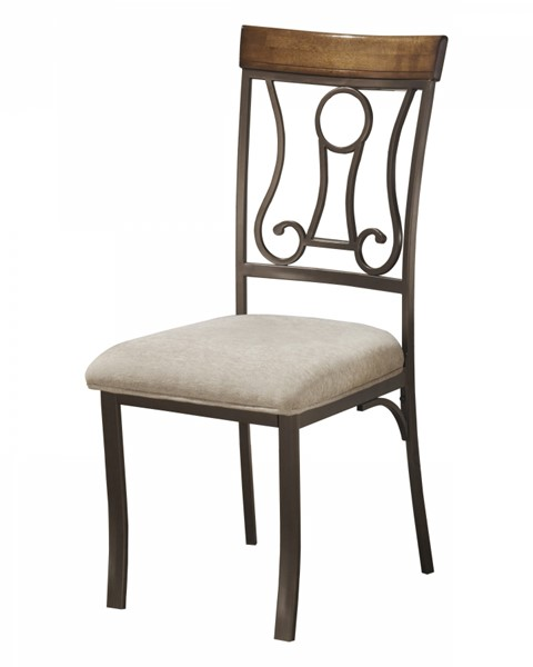 4 Hopstand Traditional Brown Fabric Metal Dining Side Chairs D314-01