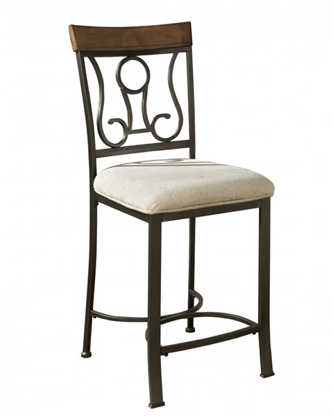 4 Hopstand Traditional Brown Metal Fabric Upholstered Barstools D314-124