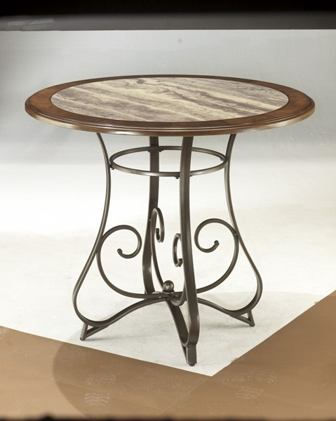 Hopstand Traditional Brown Wood Metal Round Counter Table D314-13