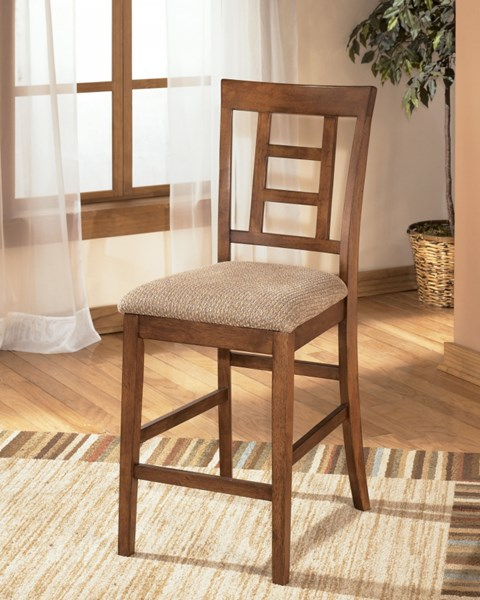 2 Cross Island Traditional Brown Oak Stain Wood Upholstered Barstools D319-324