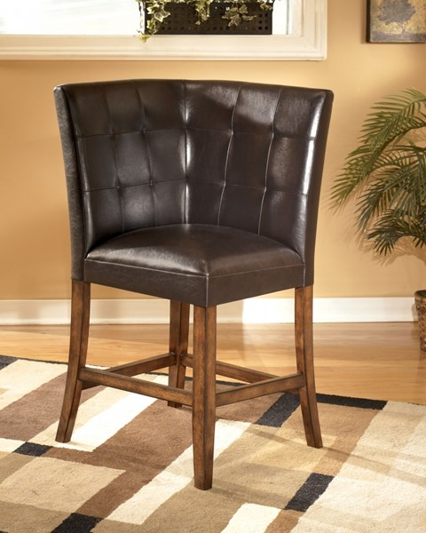 Lacey Contemporary Brown PVC Wood Corner Upholstery Barstool D328-320
