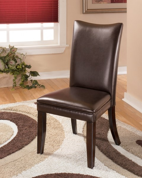 2 Charrell Brown Faux Leather Wood Dining Upholstered Side Chairs D357-01