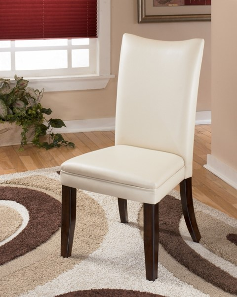 2 Charrell Ivory Faux Leather Wood Dining Upholstered Side Chairs D357-02