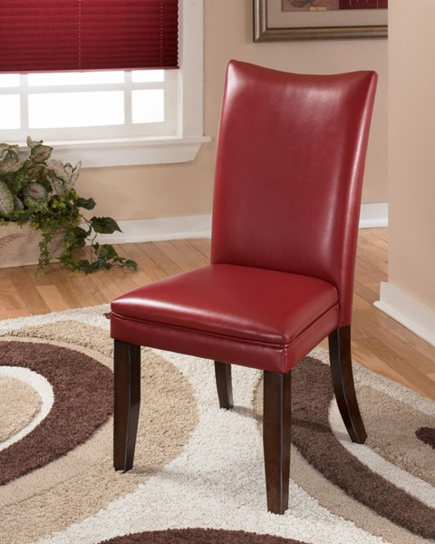 2 Ashley Furniture Charrell Red Upholstered Dining Side Chairs D357-03