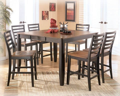 Alonzo Contemporary Two-Tone Brown Wood 5pc Dining Sets D367-Sets1