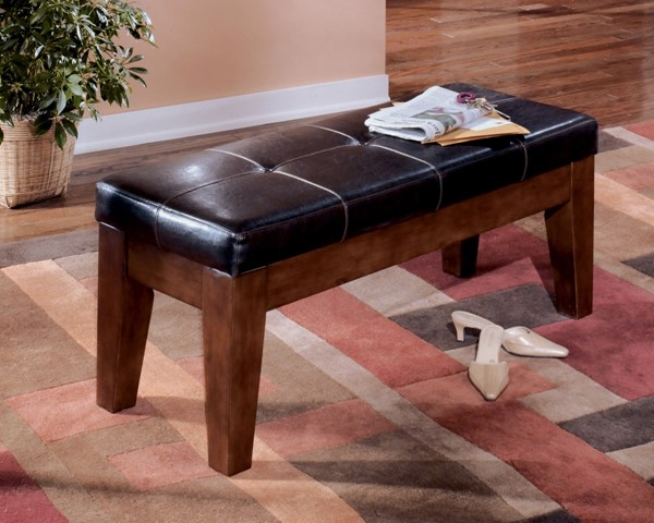 Larchmont Brown Faux Leather Wood Large Upholstered Dining Room Bench D442-00