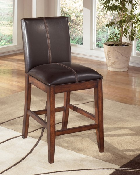2 Larchmont Burnished Brown Wood Faux Leather Upholstered Barstools D442-224