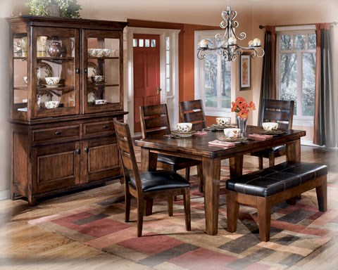 Larchmont Traditional Dark Brown Faux Leather Wood 6pc Dining Room Set D442-Sets1