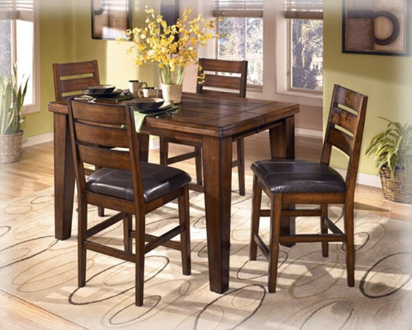 Larchmont Traditional Dark Brown Wood Faux Leather 5pc Counter Set D442BR-Sets1