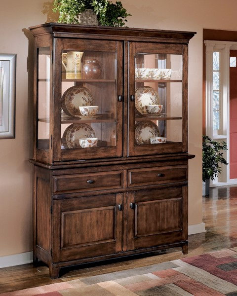 Larchmont Traditional Dark Brown Wood China Cabinets D442-80-D442-81