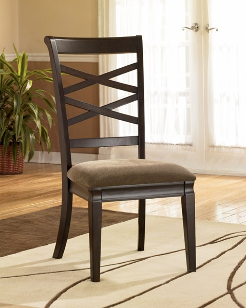 2 Hayley Contemporary Dark Brown Fabric Wood Side Chairs D480-01