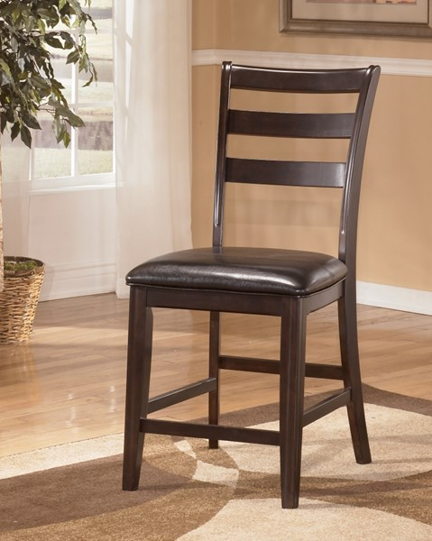 2 Ridgley Contemporary Brown Wood Faux Leather Upholstered Barstools D520-124