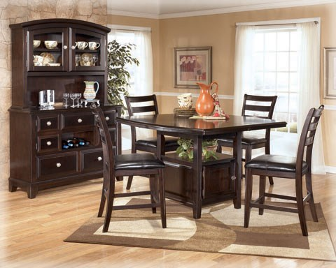 Ridgley Casual Medium Brown Wood Faux Leather Bar Set D520