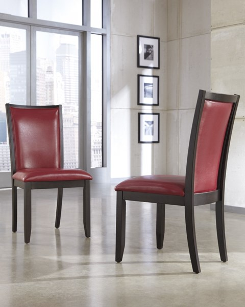 2 Trishelle Contemporary Red Wood Dining Upholstery Side Chairs D550-04