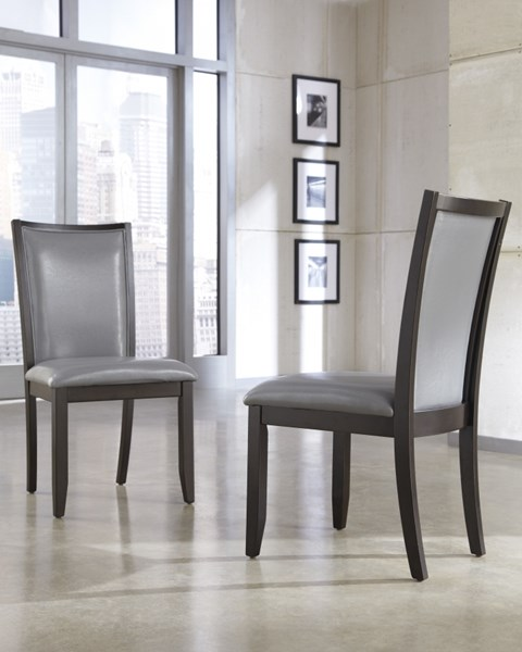 2 Trishelle Contemporary Gray Wood Dining Upholstery Side Chairs D550-05