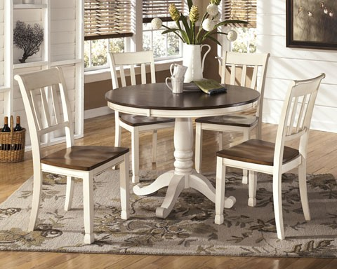 Whitesburg Casual Two Tone Wood 5pc Dining Room Set W/Round Table