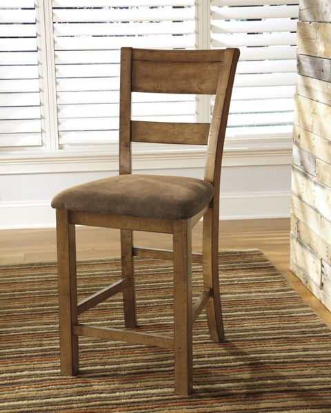 2 Krinden Casual Light Brown Fabric Wood Upholstered Barstools D653-124