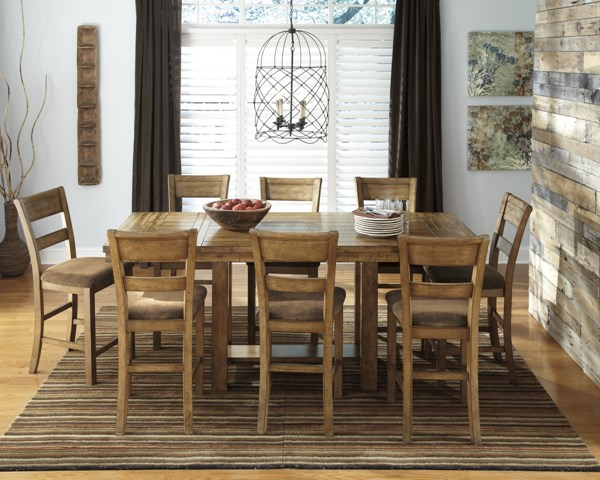 Krinden Casual Light Brown Fabric Wood 9pc Counter Set D653-S