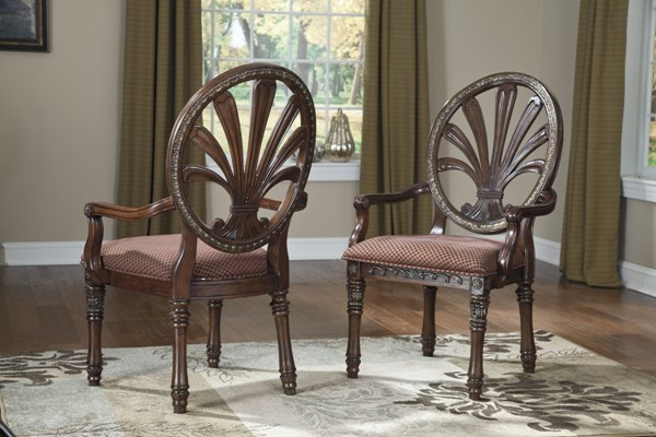 2 Ledelle Traditional Brown Fabric Wood Dining Upholstered Arm Chairs D705-03A