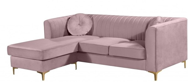 Design Edge Nundle  Pink Velvet 2pc Reversible Sectional DE-22456556