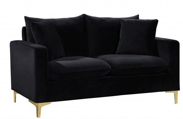 Design Edge Aramac  Black Velvet Loveseat DE-22780334