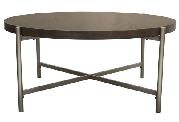 Diamond Sofa Atwood Grey Top Brushed Silver Base Round Cocktail Table DMND-ATWOODCTGRSL