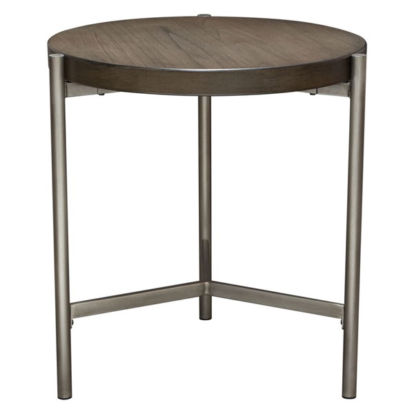 Diamond Sofa Atwood Grey Top Brushed Silver Base Round End Table DMND-ATWOODETGRSL