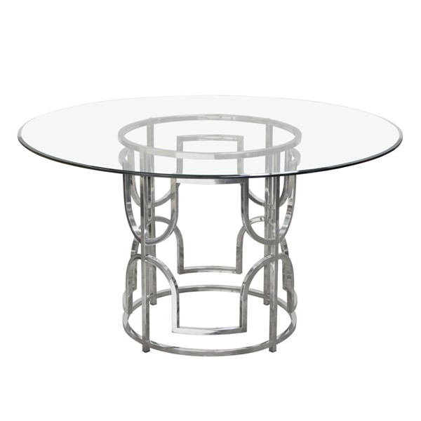 Diamond Sofa Avalon Round Glass Top Stainless Steel Base Dining Table DMND-AVALONRDT