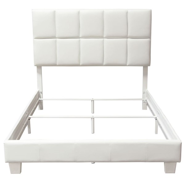 Diamond Sofa Biscuit White Leatherette Queen Bed DMND-BISCUITWHQU