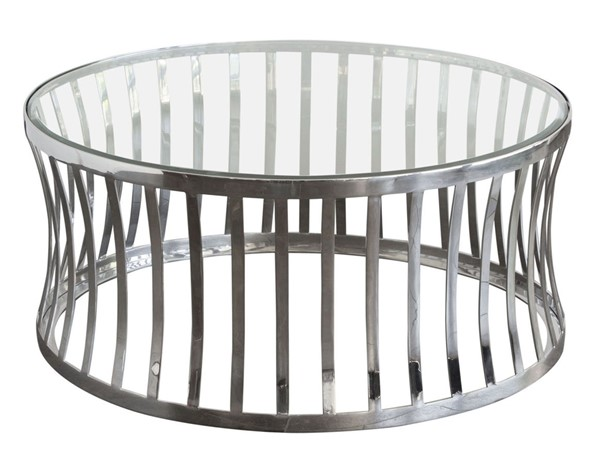 Diamond Sofa Capri Glass Top Stainless Steel Base Round Cocktail Table DMND-CAPRICTST
