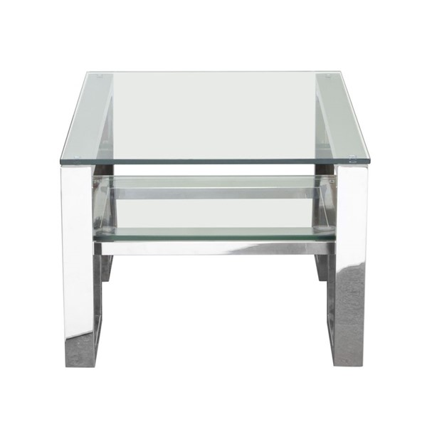 Diamond Sofa Carlsbad Clear Glass Top Stainless Steel Base End Table DMND-CARLSBADET
