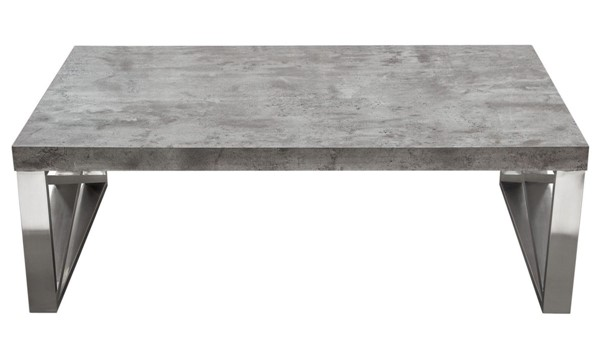Diamond Sofa Carrera Faux Concrete Top Stainless Steel Base Cocktail Table DMND-CARRERACTMA2