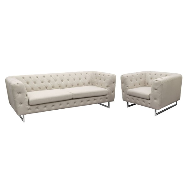 Diamond Sofa Catalina Sand Fabric 2pc Tufted Sofa And Chair Set DMND-CATALINASCSA