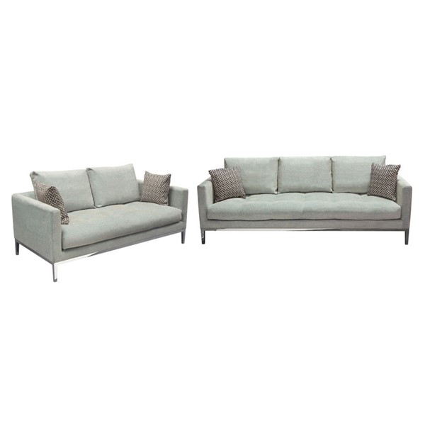Diamond Sofa Chateau Royal Sapphire Grey Fabric 2pc Sofa And Loveseat Set DMND-CHATEAUSLSP