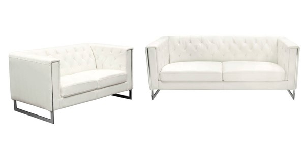 Diamond Sofa Chelsea White Leatherette 2pc Sofa And Loveseat Set DMND-CHELSEASLWH