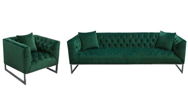 Diamond Sofa Crawford Emerald Green Fabric 2pc Tufted Sofa And Chair Set DMND-CRAWFORDSCEM