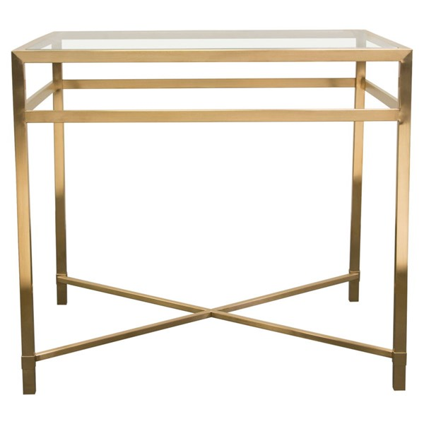 Diamond Sofa Croft Clear Glass Top Gold Base Rectangular End Table DMND-CROFTETGD